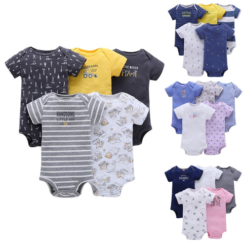 wazin - Baby Boys 5pcs-Pack Short Sleeve Bodysuit -