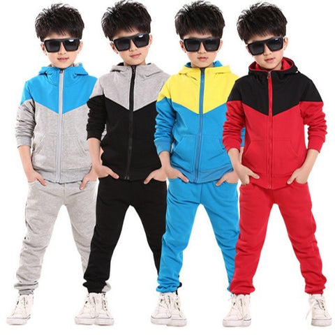 wazin - Fashion Children Tracksuit for Boys Hooded Coat Long Pants 2Pcs Boys Sport Suits Spring Autumn Casual Kids Teens Toddler Clothes - Boys Clothing