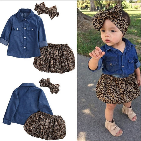 wazin - Baby Girl Photography  Props Leopard Print Long Sleeve Autumn Baby Girl Clothes 1PC Headband+1PC Tops+1 PC Dress Kids Clothes -