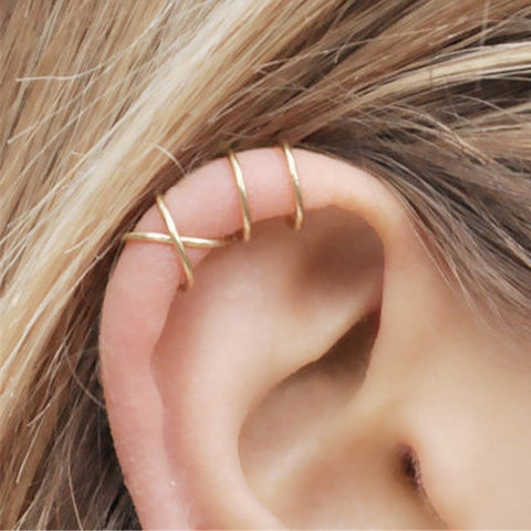 wazin - Fashion 2Pcs/Set Cartilage Punk Ear Cuff Clip-On Earrings Non-Piercing Cross 3 Color Wrap Clip Earrings - earrings