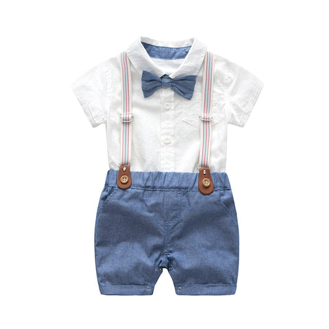 wazin - Baby Boys Bow Formal Romper Clothes Suits Gentleman Party Suit Soft Cotton Solid Jumpsuit + Suspender Pants Infant Toddler Set -