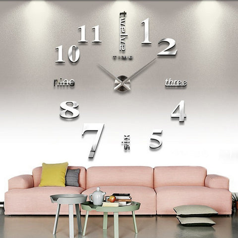 wazin - Wall 3D Big Sticker Mirror Clock -