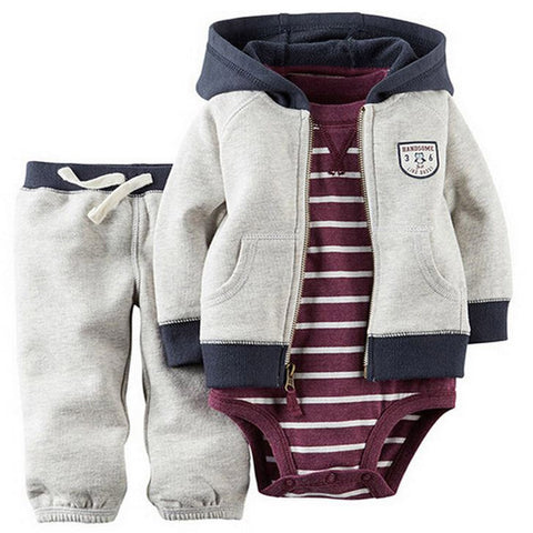 wazin - kids baby bebes boy clothes set hooded jacket+rompers+pants infant boy girl clothing Autumn Spring children suits newborn set -