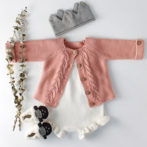 wazin - Baby Girls Clothes Autumn Baby knitted Romper Set Infant Newborn Baby Girl Cardigan Boys Sweater Cotton Baby Jumpsuit For Girls -