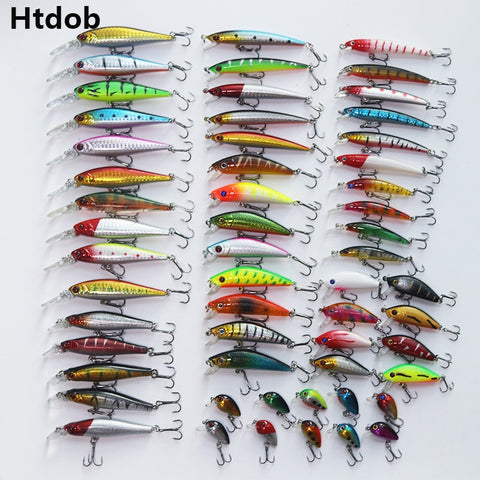 wazin - Htdob 56 Pcs Mixed Fishing Lure Bait Set -