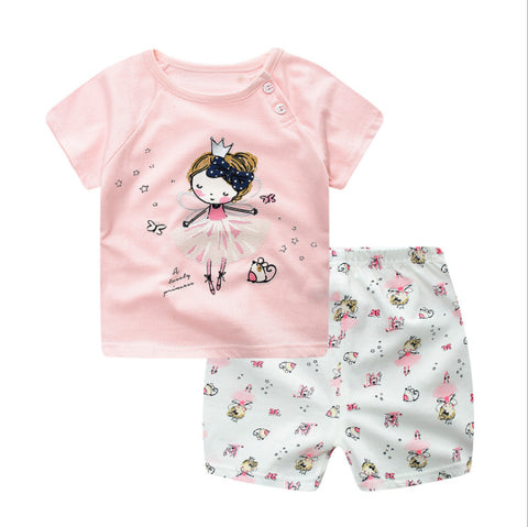 wazin - 2019 Summer Princess Baby Girl Clothes, Newborn Clothing Pink Tshit Outfits For Kids 6 M -24 Months -