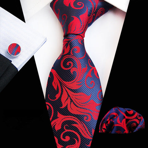 wazin - Men's Floral Silk Necktie Set -