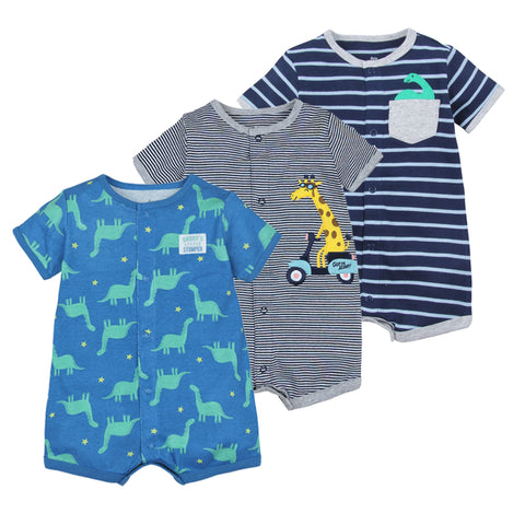 wazin - 2019 Summer baby boys clothes cotton Jumpsuit Short sleeve Roupas Menino for Baby Boy Body suits , 0-24M kids rompers -