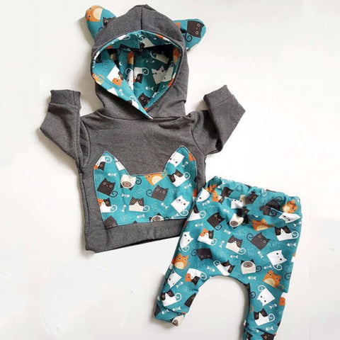 wazin - Newborn Kid Baby Boy Girl clothes Cotton lonf sleeve hooded  hoodies +pants Clothes Set Outfit Tracksuit -