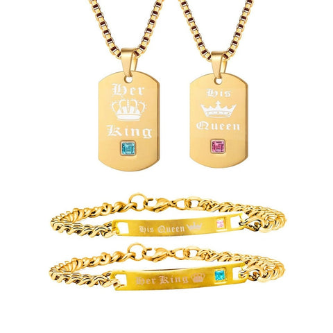 wazin - His Queen Her King Titanium Necklaces & Bracelets Matching Jewelry Set -