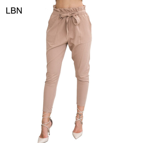 wazin - High Elastic Waist Harem Pants Women Spring Summer Fashion -
