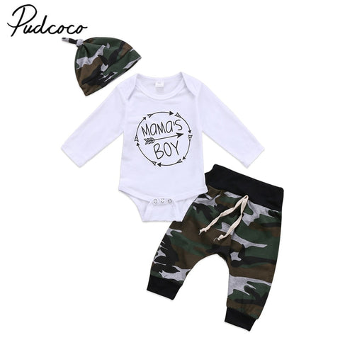 wazin - Whazin  3Pcs  New Baby Boy Long Sleeve Tops Romper Camouflage Pants & Hat Outfits - Baby Boy