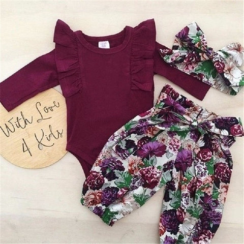 wazin - 3pcs Newborn Kid Baby Girls Clothing Long Sleeve Cloth Set Floral Jumpsuit Romper + Pants + Headband Outfits Girl Clothes Sets -