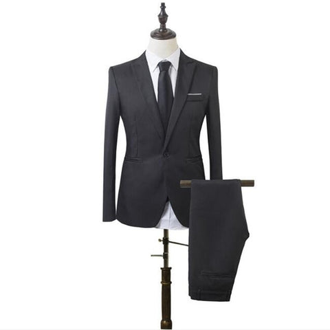 wazin - Men's Slim Designer Fit Solid Color 2Pc Suit -