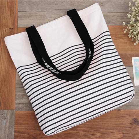 wazin - Striped Shoulder Beach Bag -