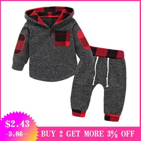 wazin - Plaid Newborn Baby Boys 2PC Outfit -