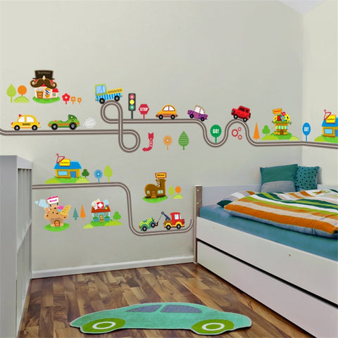 wazin - Cartoon Cars Highway Track Wall Stickers -