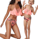wazin - Women's High Waist Ruffle Bikini Set - Women's Bathing Suit