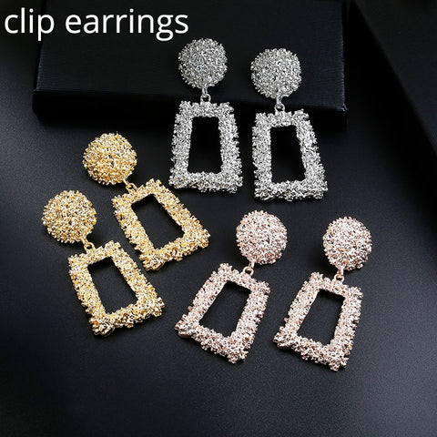 wazin - Big Vintage ZA Statement Clip Earrings for Women Without Piercing Hanging Earring 2019 Metal Ear Clips Fashion Jewelry Trend -