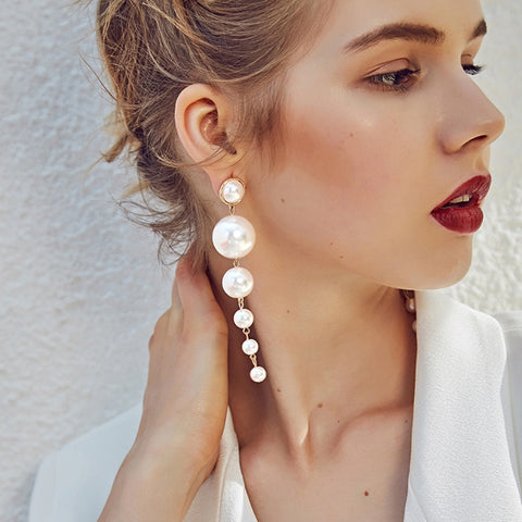 wazin - Trendy Exaggerated Big Simulated Pearl Long Dangle Clip - earrings