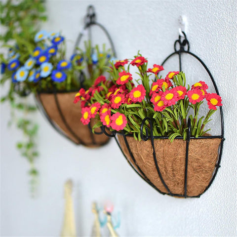 wazin - Iron Wall Hanging Flower Basket Shelves Wall Decoration Plant Pots -