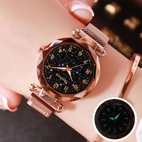 wazin - Starry Sky Women Wrist Watch Luxury Watch Rose Gold relogio feminino Female Clock reloj mujer -