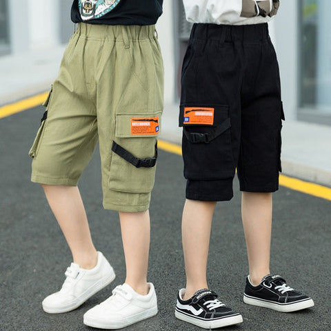 wazin - 2019 Summer Boys for Pants Loose  Knee Length  Casual Streetwe Tactical Teen Sports Pants Boys Big Size 6 8 10 12 13 14 16 Years -