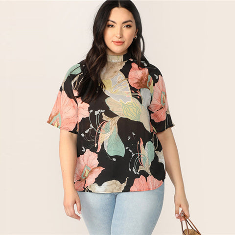 wazin - Women's Plus Size Multicolor  Keyhole Back Floral Print Top -
