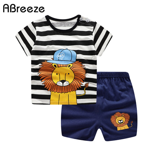 wazin - 2019 Newborn clothing sets summer baby clothes for boys & girls cotton Lion print baby sets 0-2Y baby child clothes 2PCS -