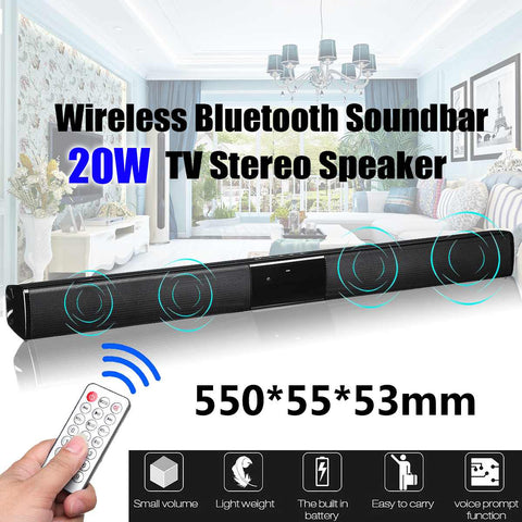 wazin - 20W TV Speaker Soundbar bluetooth Wireless Home Theater Sound Bar Remote Control -