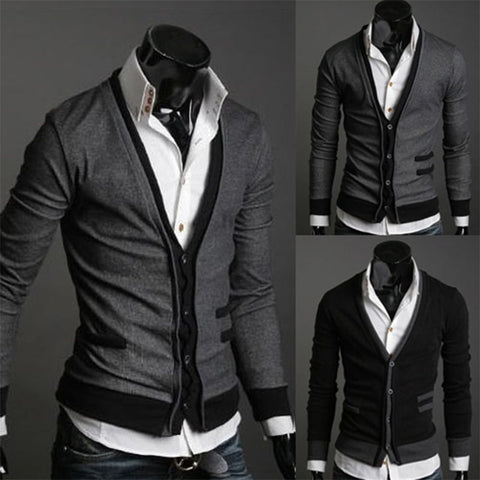 Men's V-Neck Fashion Cardigan Wool Sweater