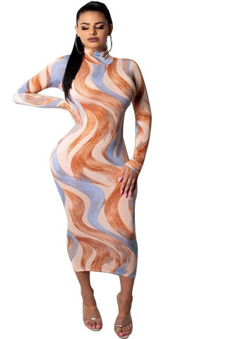 wazin - Women's Curve Print Turtleneck Bodycon Dress -