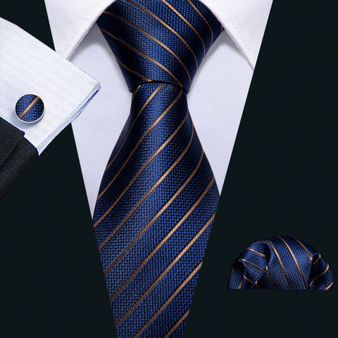 wazin - Men's Gold Navy Striped Silk Tie -
