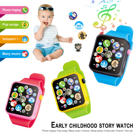 wazin - New Arrival Montessori Electronic Watch Toys For Kids 8 Major Functions 9 Colors Music Toy Clock Up Watch Funny Things For Baby - Electronic Watches