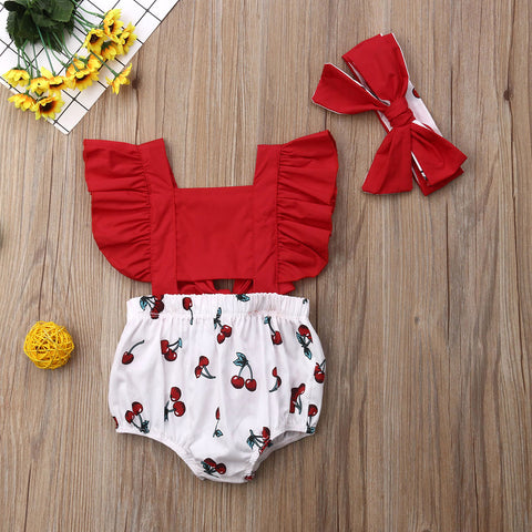 wazin - 2pcs Newborn Baby Girl Ruffle Cherry Print Bodysuits Headband Sunsuit Outfits Summer Clothes -