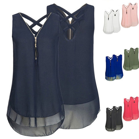 wazin - Summer Women Loose Sleeveless Tank Top -