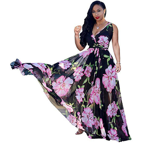 wazin - Women's Bohemian Floral Maxi Lace Dress -