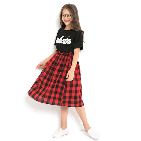 wazin - Girl's Plaid Two Piece Skirt Set - Girls Clothing