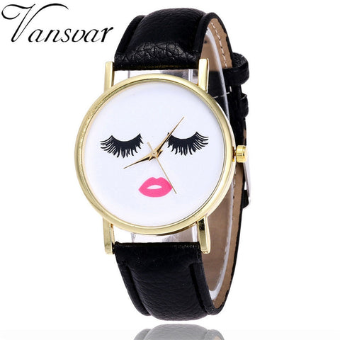wazin - Vansvar Eyelashes Long Ladies Watch Men's And Women's Watch PU Leather Band Analog Quartz Wrist Watch Women's Watch New#5/22 -