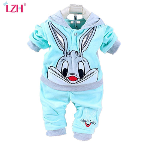 wazin - Newborn Baby Boys Clothes Autumn Winter Baby Girls Clothes Rabbit Hoodie+Pant Outfit Costume For Baby Suit Infant Clothing Sets -