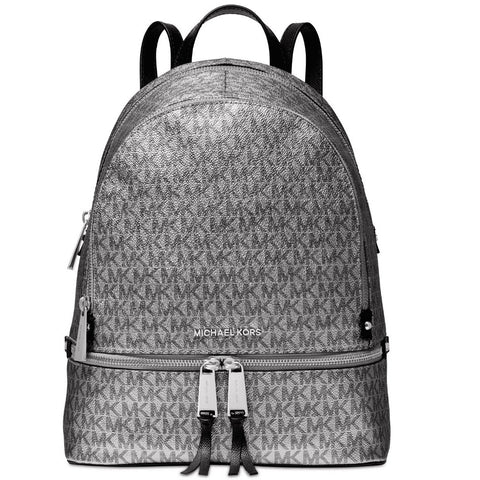 wazin - Michael Kors Metallic Signature Rhea Zip Backpack (Silver/Black) by MK -