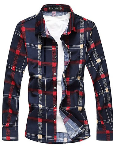 wazin - Men's Plaid Long Sleeve  Daily Cotton Shirt -