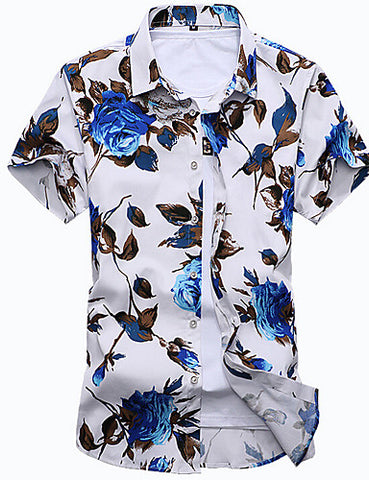 wazin - Men's Beach Boho Slim Shirt - Floral Print Classic Collar White / Short Sleeve / Summer -