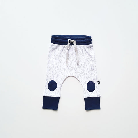 Organic Paint patch pants (White / grey / ink navy)