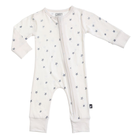 Starry Night Zip Romper Lily White