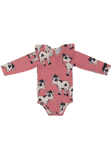 Cow Pink Frilled Bodysuit