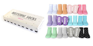 Girls Milestone Socks, 0 - 12 Months, 12 Pack