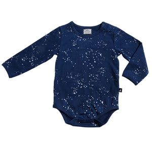 Organic Night Sky Long Sleeve Bodysuit Navy