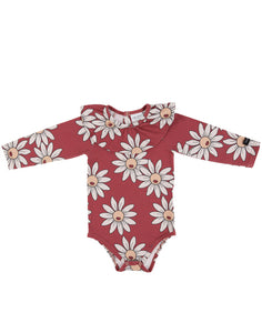 Red Daisy Frilled Bodysuit