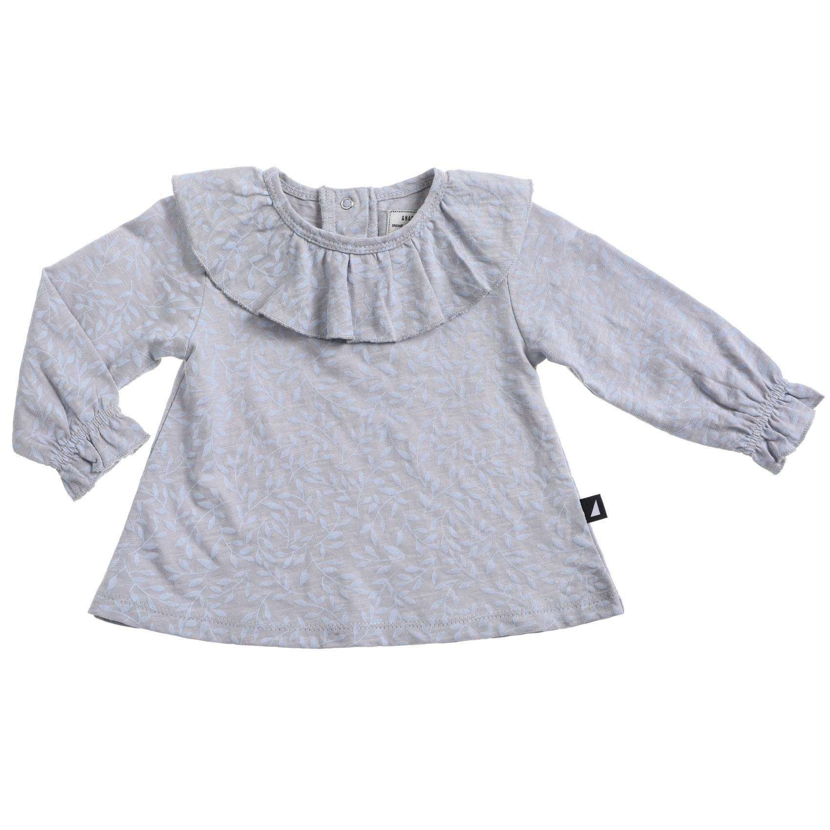 Vines Frill Neck Smock Glacier Blue